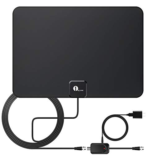 [Upgraded 2020] 1byone Digital Amplified Indoor HD TV Antenna Up to 80 Miles Range