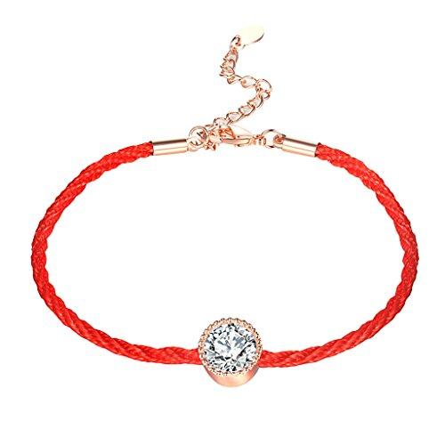 Fancy Rope Bracelet (Homyl 17.5cm Fancy Red Crystal Lovers Rope Chain Bracelets for Girls Boys Gift - Red)