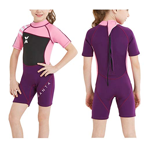 DIVE & SAIL Kids Wetsuit Shorty, 2.5mm Neoprene Thermal Swimsuit, Youth Boys and Girls Wet Suits for Snorkel Diving, Full Suit and Shorty Swimsuit (Girl's Shorty-Pink, Kids XL Size) (Neoprene Xl Swimwear)