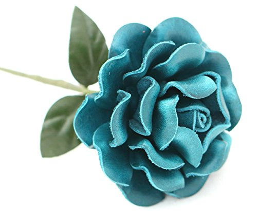 Small Long Stem Teal Leather Rose, Handmade Third Wedding Anniversary Gift