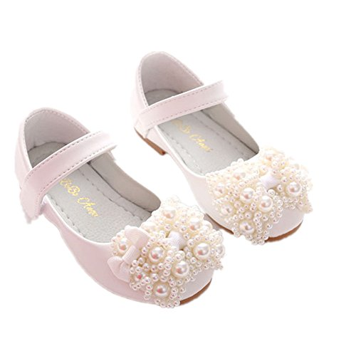 PRETTYHOMEL Princess Shoes 2018 Spring New Children Flat Shoes for Girls Dress Party Shoes 4-12 Year Girl Shoes(White 27/10 M US - Shoes Dyeable Childrens