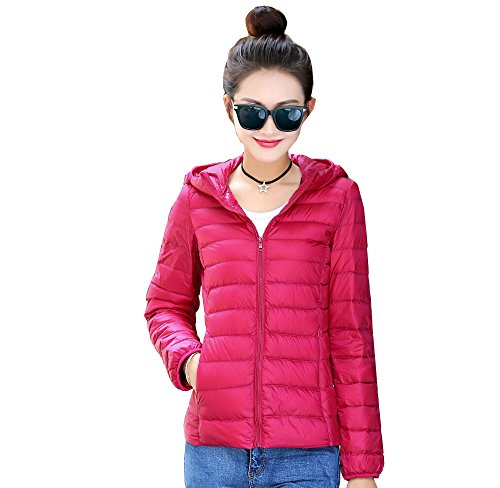 Pink Down Coat (USIX Women's Packable Hooded Down Coat Jacket Winter Outdoor Coat Puffer)