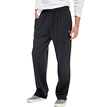 Hanes P7309 Mens Open Bottom Jersey Pants, Granite Heather Grey - Small