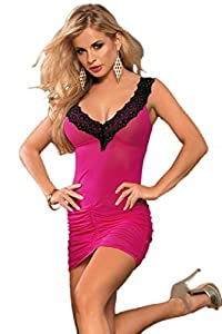 O'Mango Women's Sexy Hot Pink and Black Lace Ruched Party Dress, Deep-V Neckline and Back, Matching Thong-One Size Clubwear