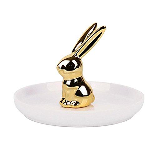 e Tray, Nordic Style Ceramic Rabbit Shape Jewelry Storage Tray Gold/White Color Popular Desk Decoration Bathroom Jewelry Rack Plate Dessert Dried Fruit Plate (C) ()