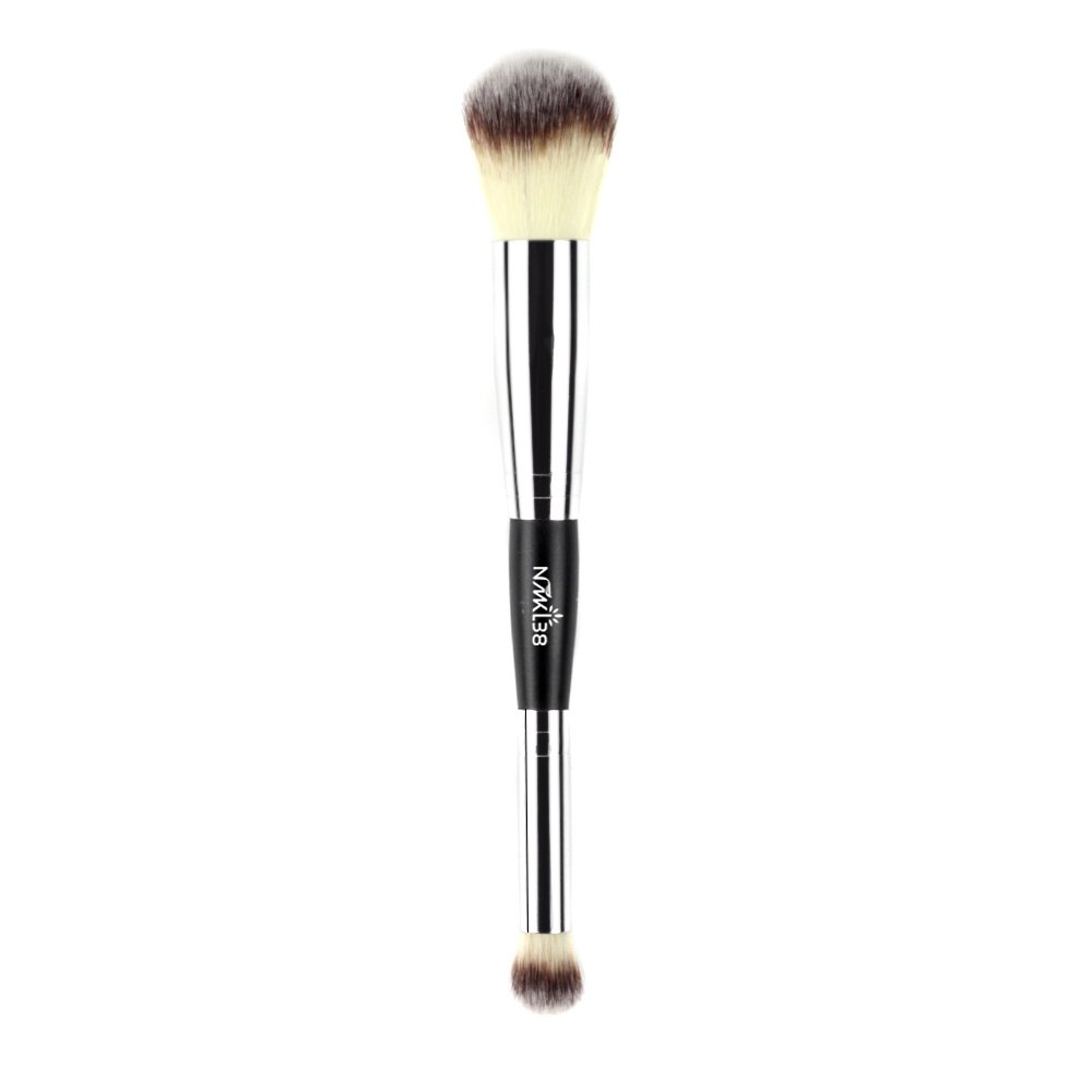 NMKL38 Double Ended Complexion Brush Face Concealer Powder Makeup Brush, Blending Liquid Foundation, Cream Cosmetics - Black Handle, Vegan Brush, Cruelty Free
