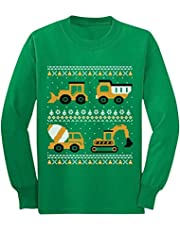 Tractors Bulldozers Ugly Christmas Sweater Style Boys Kids Long Sleeve T-Shirt