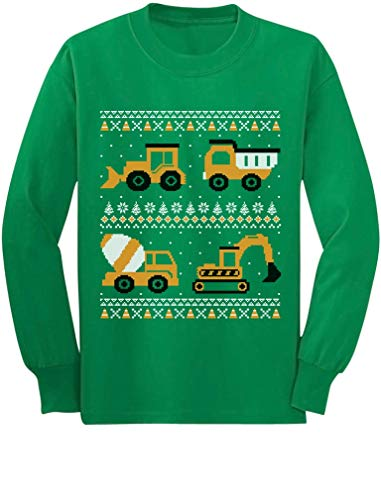 Tractors Bulldozers Ugly Christmas Sweater Style Boys Kid Long Sleeve T-Shirt 3T Green
