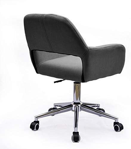 KBEST Fauteuil de Bureau Simple sur roulettes, relevable, Fauteuil Design Gris, Coton, matière Lin 45 × 42 × 72 cm,Noir