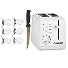 Cuisinart CPT-122 2-Slice Compact Plastic Toaster, Knife & Bread And Bagel Clip Bundle