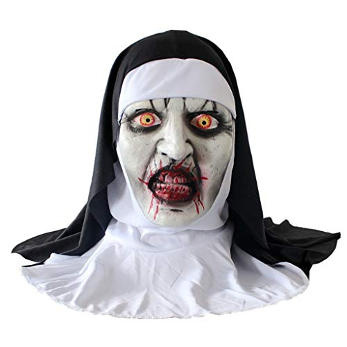 Unionm Halloween Props, DIY Decoration Horror Creepy Spooky Prop Toys Haunted House Decoration Gift for Home Yard Outdoor Indoor Party Bar Home (Nun Mask)