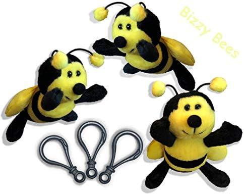 Set of 3 Plush Soft Stuffed 5 Honey Bees