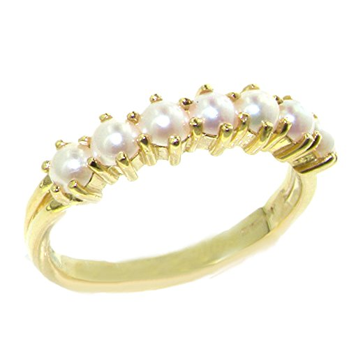LetsBuyGold 14k Yellow Gold Cultured Pearl Womens Anniversary Ring - Size 8 -