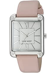Nine West Womens NW/2117SVPK Silver-Tone and Pink Strap Watch