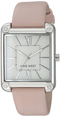 Nine West Women's NW/2117SVPK Silver-Tone and Pink Strap Watch