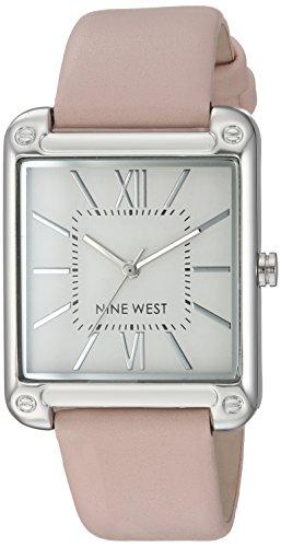 Pink Silver Tone Watch - Nine West Women's NW/2117SVPK Silver-Tone and Pink Strap Watch