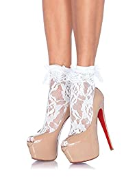 Leg Avenue womens OS Lace Anklet Sock With Ruffle
