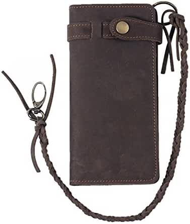 Fioretto Men's Vintage Cowhide Short Long Wallet Genuine Leather Trifold Wallet Card Holder 75% Off