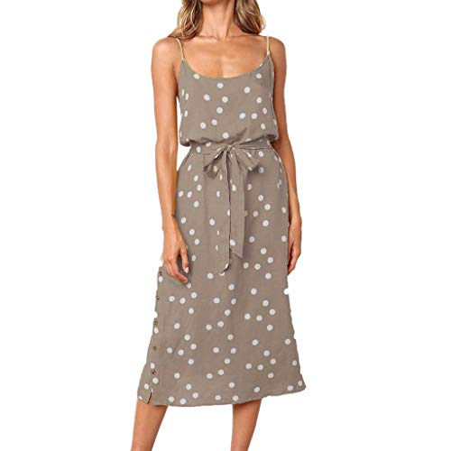 Polka Dot Cherries Snap - Witspace Ladies' Summer Fashion Dress Splitter Buckle Loose Polka Dot Dress