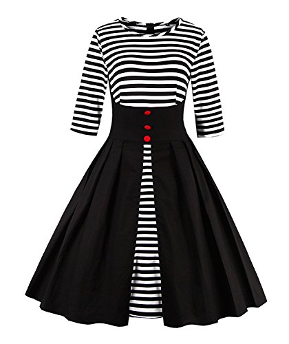 Killreal Women's Elegant Striped Patchwork Business Casual Cocktail Dress with Half Sleeves Black XXX-Large