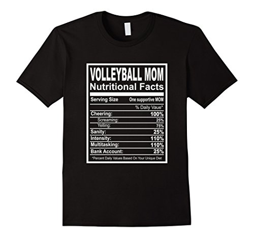 Mens Volleyball Mom Nutritional Facts T-Shirt XL Black