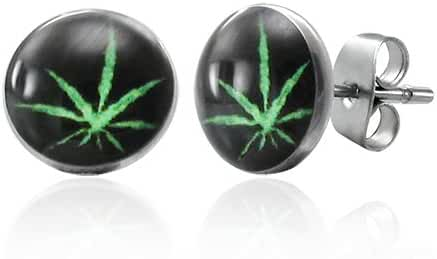 7mm Stainless Steel Marijuana Leaf Small Stud Earrings
