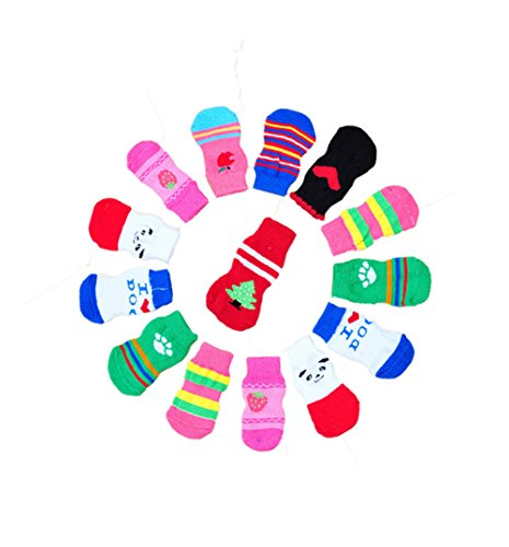 Knit Dog Booties - LifeWheel Traction Control Cotton Socks Indoor Dog Nonskid Knit Socks 5 Sets Random Color