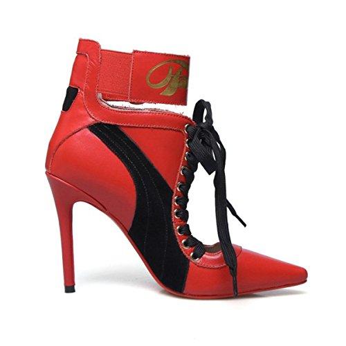 Chaussures 44 Strappy Stylet Noir Cheville EUR43UK9 Travail RED Femmes Pointu Intelligent Pompes Haute Tribunal Fête Taille 35 Talon NVXIE Sangle TOq75w