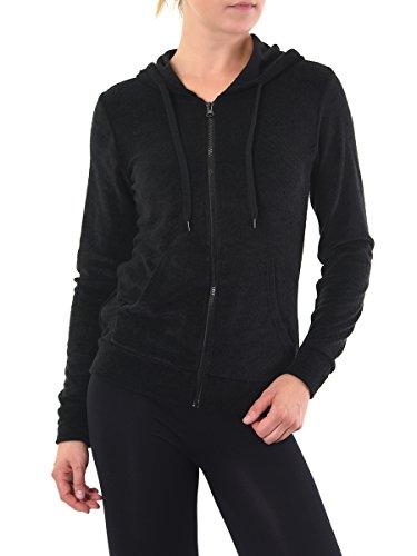 Teejoy Women's French Terry Zip Up Hoodie Jacket (S, Black)