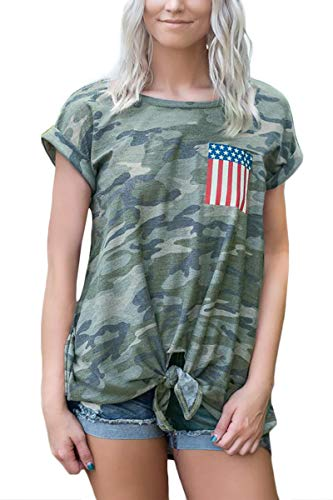 July 4th Women Loose Casual Summer Top American Flag USA Tie Front Short Sleeve T Shirt Camo XL