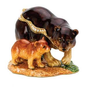 Bear And Cub Figurine Keepsake Box Set With Swarovski Crystals  Mommy   Baby Bear Ring Box  Brown Bear Pill Box  Mother And Child Jewelry Trinket Box Limited Edition