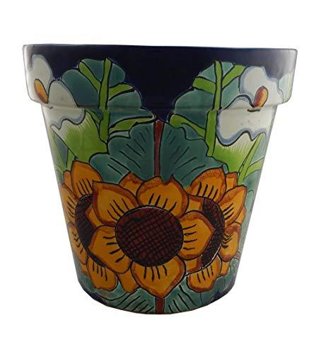 Mexican Talavera Planter Ceramic Flower Pot Folk Art Pottery Garden Handmade # 09