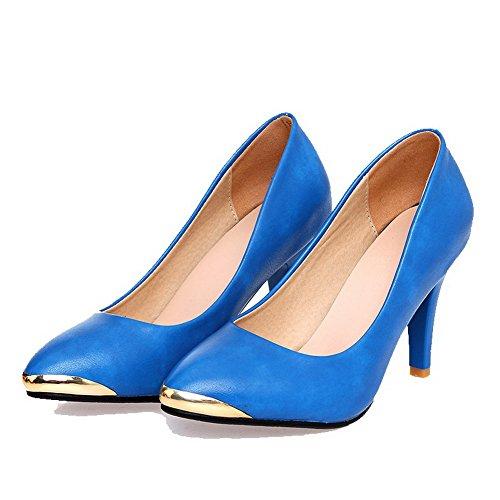 AllhqFashion Mujer Sin cordones Puntera Cerrada Puntera en Punta Tacón Alto Pu Sólido De salón Azul