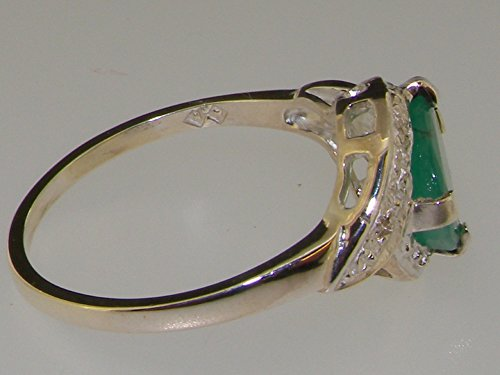 Haute Qualité Bague pour Femme en Argent fin 925/1000 sertie d'Emeraude et Diamant - Tailles 47 à 68 disponibles