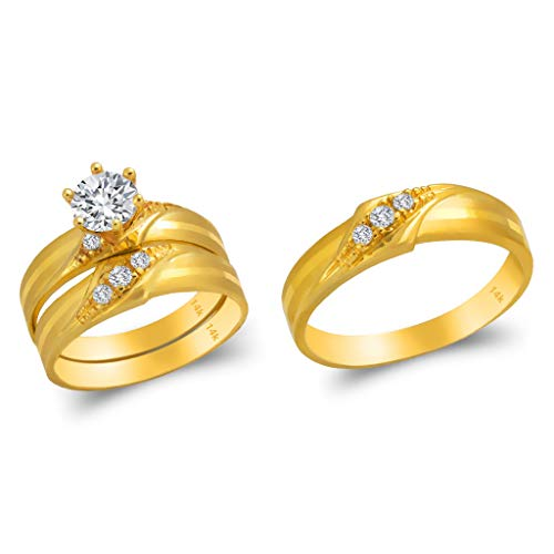 Gold Trio Set Ring - TOUSIATTAR Trio Ring Set 14k Gold - 3 Piece Wedding His Engagement Her Band Rings Sets - Round Cubic Zirconia CZ for Couple Mens and Women - Anillos de Matrimonio (Ladies Size 8.5 - Men's Size 10)