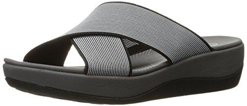 Clarks Women's Arla Elin Slide Sandal, Black/White, 10 M (Clarks Womens Shoes 10)