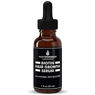 Hair Growth Serum with Biotin Oil by Hair Thickness Maximizer. For Hair Loss, Damaged, Dry, Frizzy Hair. Natural Thickening and Smoothing of Hair and Nourishing of Scalp for Women and Men