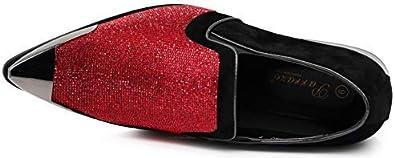 Enzo Romeo Crisiano Men Rhinestone Chrome Toe Suede Pointy Dress Loafer Slip On Shoes