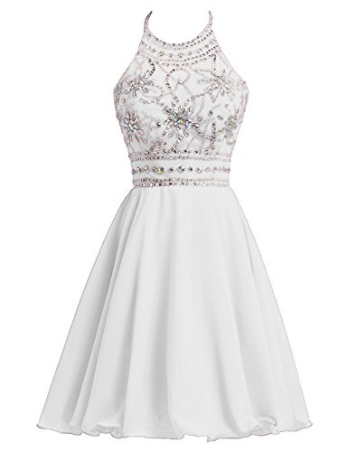 Gowns Sd394 Dresses Belle Halter Juniors white Homecoming House Party Chiffon Ball Prom qtxSvz