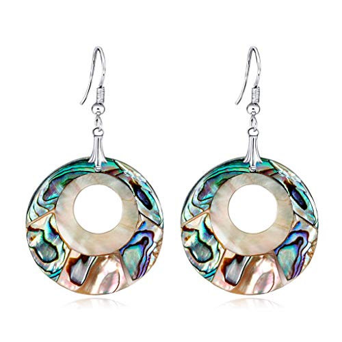 (Kofun Earrings, 1 Pair Abalone Earrings Shell Round Hollow Vintage Creative Colorful Charms Women Ears Decoration Fashion Party)