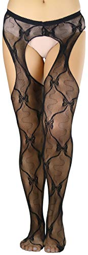 ToBeInStyle Women's Bow Lace Suspender Hose - Black - OS