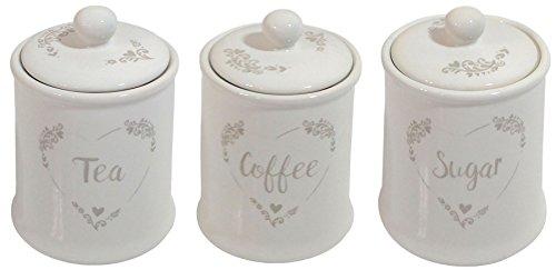 TEA COFFEE SUGAR BEIGE CREAM HEART STENCIL CERAMIC 3 STORAGE JAR CANISTER SET