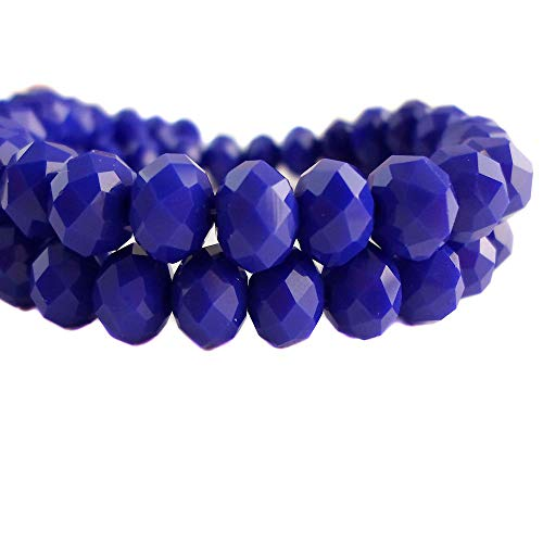 BeadsOne 4mm - 150 pcs - Glass Rondelle Faceted Beads Royal Blue Matte for jewerly Making findings Handmade jewerly briolette Loose Beads Spacer Donut Faceted Top Quality 5040 (C78)