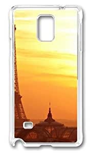 MOKSHOP Adorable Eiffel Tower in Sunset Hard Case Protective Shell Cell Phone Cover For Samsung Galaxy Note 4 - PC Transparent