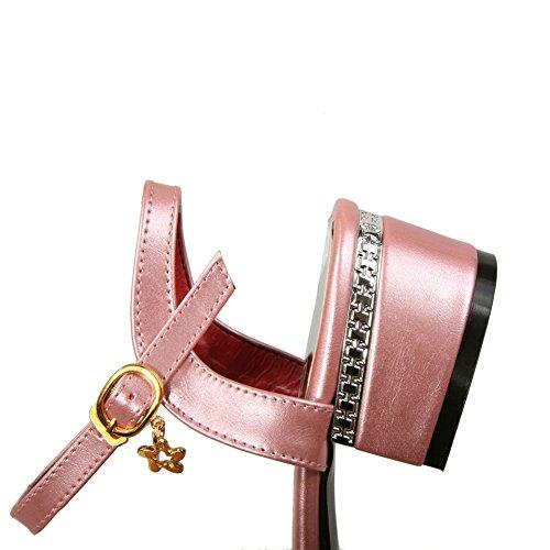 BalaMasa Womens Sandals Studded Huarache Smooth Leather Urethane Sandals ASL04404 Pink 7AYvV