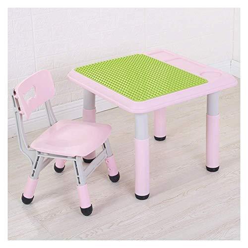 Mesa de estudio de los ninos Nino mesas sillas Estable Tabla heces seguridad de los ninos bloques de construccion Mesa de comedor Aprende plastico mesa de juego Sala de Actividad, 2 colores Asiento pa