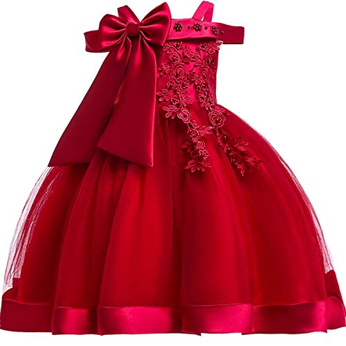 Baby Girls 3D Flower Embroidery Silk Princess Dress for Wedding Party Kids Dresses,WineRed,5]()