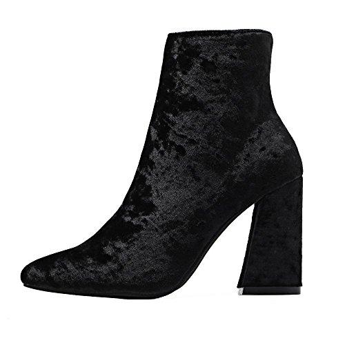 LvYuan-mxx Botas cortas de las mujeres / terciopelo del oro / punta acentuada / talón grueso / zapatos de tacón alto / oficina y carrera / vestido / ocasional , blue , 36 BLACK-40