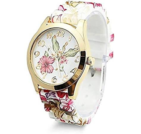 e154812801eb TrifyCore Reloj de Pulsera para Mujer Que Diseño de Flores de Silicona  Causal de Pulsera de