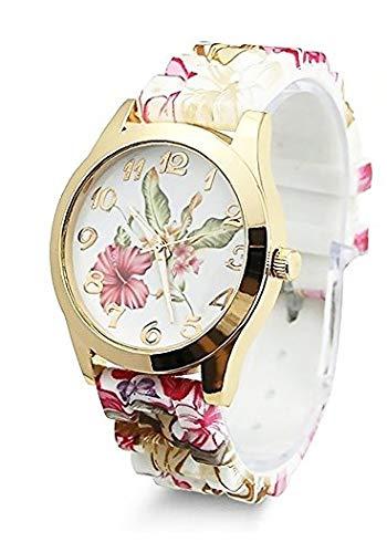 TrifyCore Reloj de Pulsera para Mujer Que Diseño de Flores de Silicona Causal de Pulsera de Cuarzo: Amazon.es: Relojes